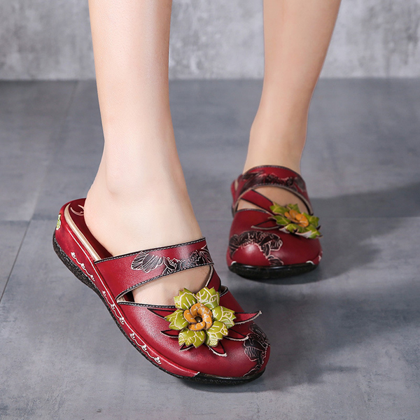 SOCOFY Genuine Leather Floral Hollow Out Backless Strappy Flat Shoes