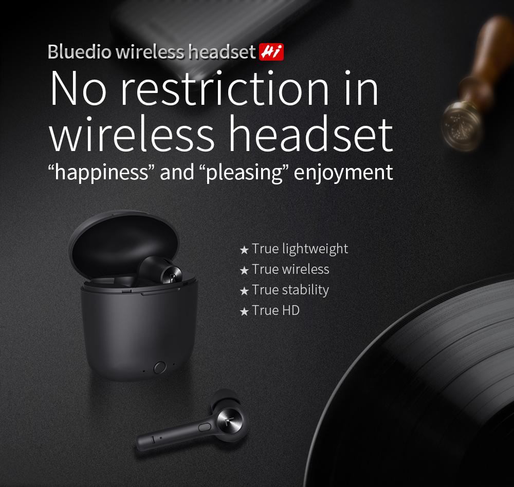 Bluedio Hi TWS Wireless bluetooth 5.0 Earphone HiFi Stereo Intelligent Induction Bilateral Call Headphone with Charging Box