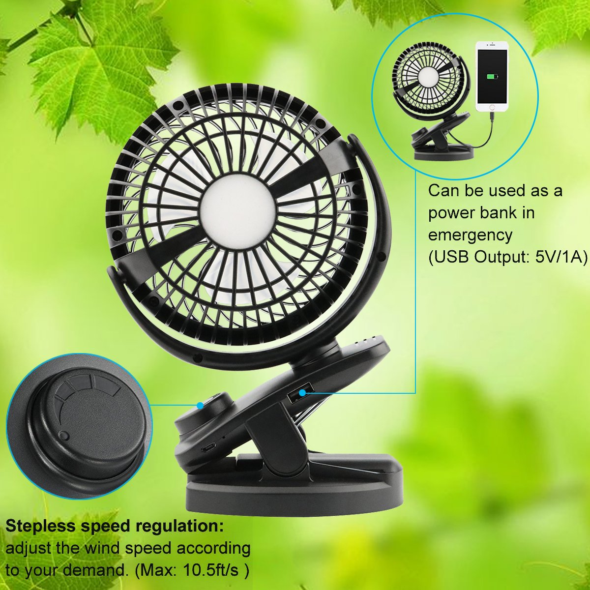 DC 5V Portable USB Rechargeable Mini Fan 4400mA Battery Operated for Baby Stroller Desk Gym Travel