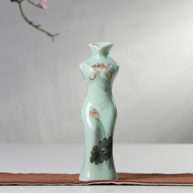 Cheongsam Beauty Flower Hand-painted Vase Home Furnishings Supply New Listing Available