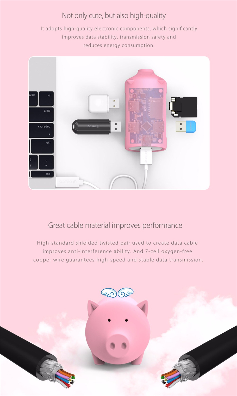 ORICO Little Pig High Speed USB 3.0 OTG HUB Adapter SD TF Card Reader for Macbook Laptop