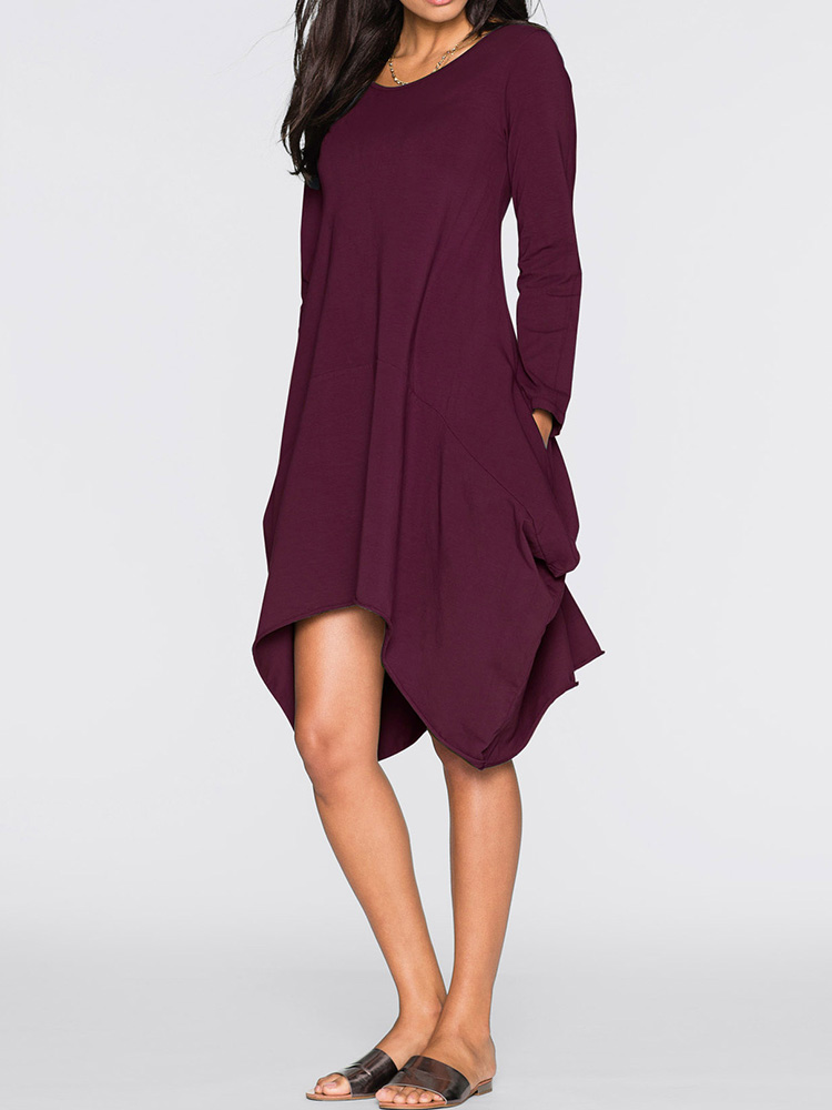 O-neck Long Sleeves Solid Color Asymmetrical Short Dress
