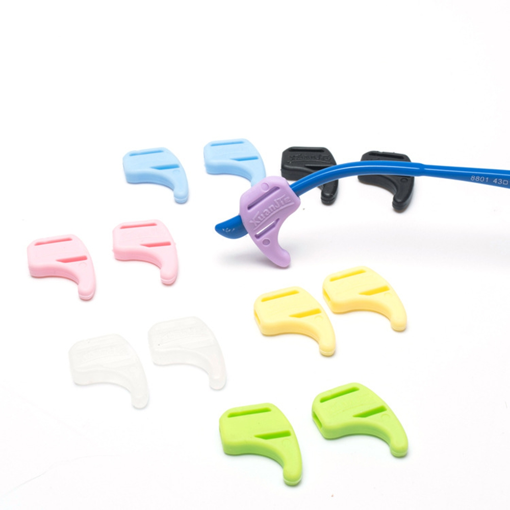 1Pair Colorful Silicone Anti-slip Glasses Cover Temple Tips