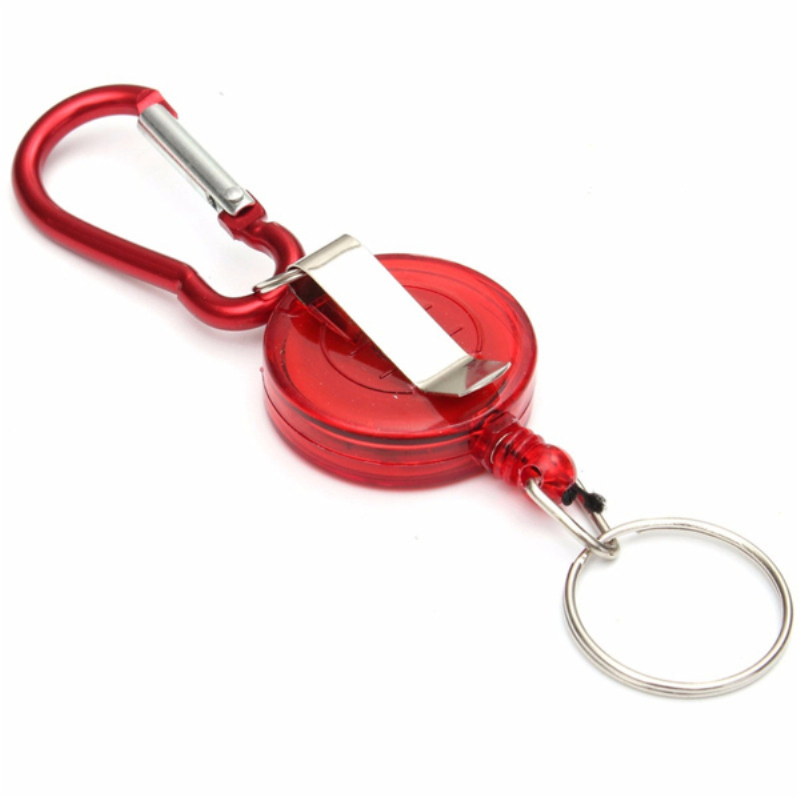 Badge Reel Telescopic Key Buckle Carabiner Recoil Retractable Holder Key Chain Red