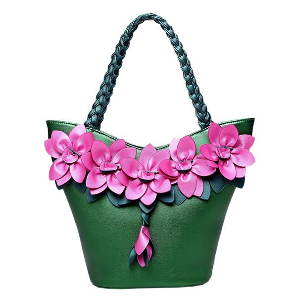 Brenice Women Leather Floral Decoration Bucket Bag National Style Handbag