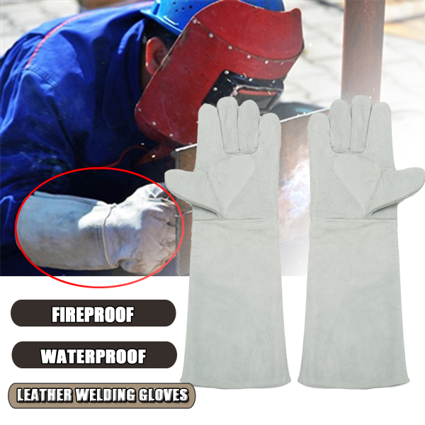 Welding Gloves Long Cuff Soft Leather Welding Protective Gloves Heat Gear Fireproof Waterproof