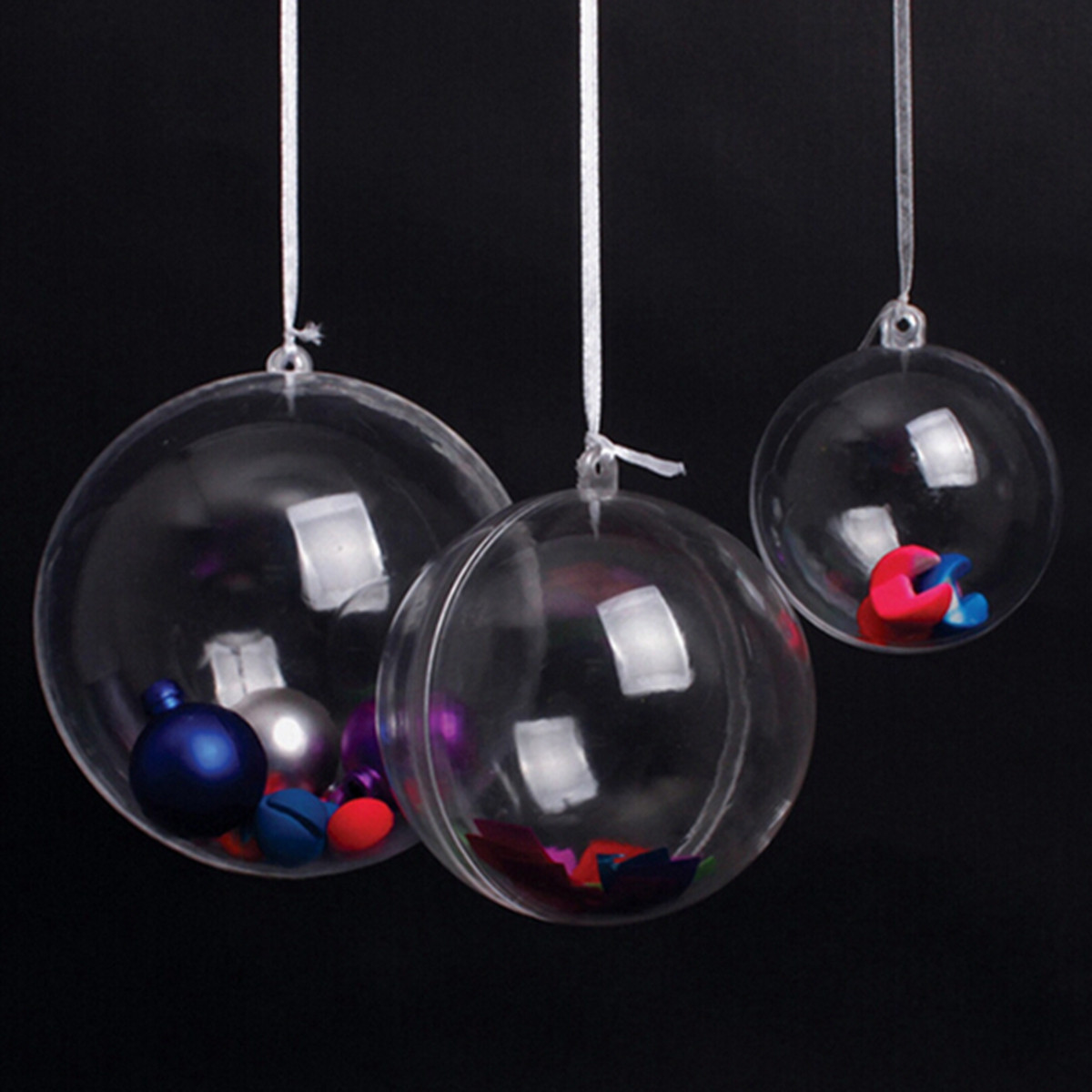 5pcs Christmas Tree Decoration Clear Hanging Ball Gift Candy Hanging Decration Ball