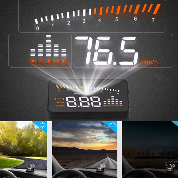 X5 Car Head Up Display OBD2 II HUD Projector Speedometer MPH KM/h Speed Warning