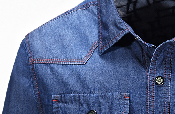 Men Plus Velvet Warm Thick Loose Spring Fall Long-sleeved Casual Denim Shirt