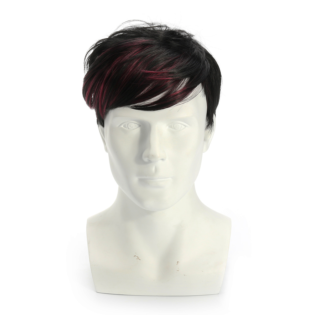 High-temperature Fiber Mens Straight Wig