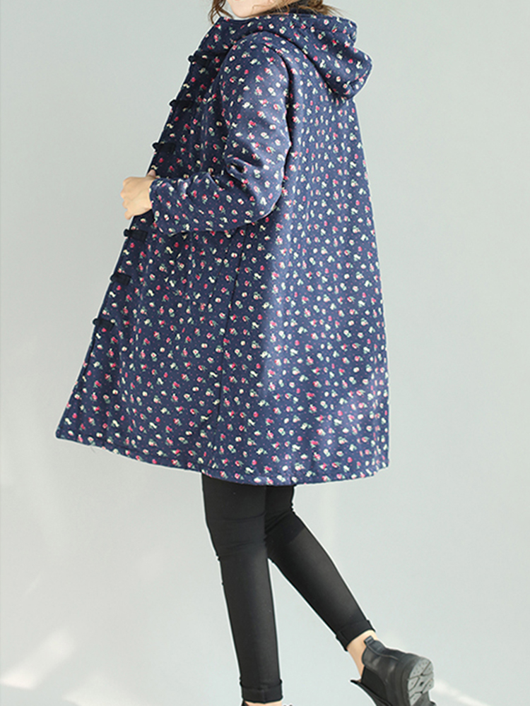 Retro Women Folk Style Floral Print Chinese Knot Hooded Coat