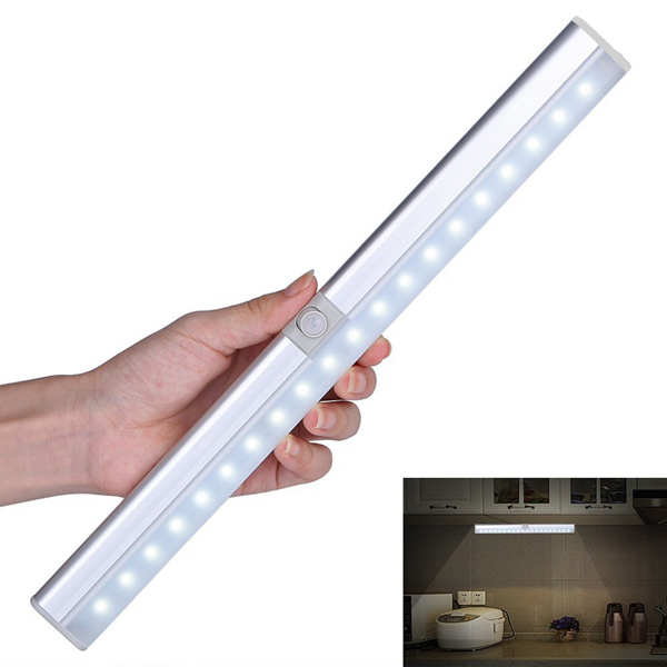 Portable 20 LED USB Rechargeable Light Sensor & PIR Mtion Cabinet Closet Light for Kitchen Stairs