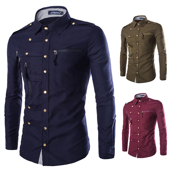 Mens Stylish Fashion Snap Fastener Multi Pockets Zippers Epaulet Decoration Slim Fit Designer Shirt