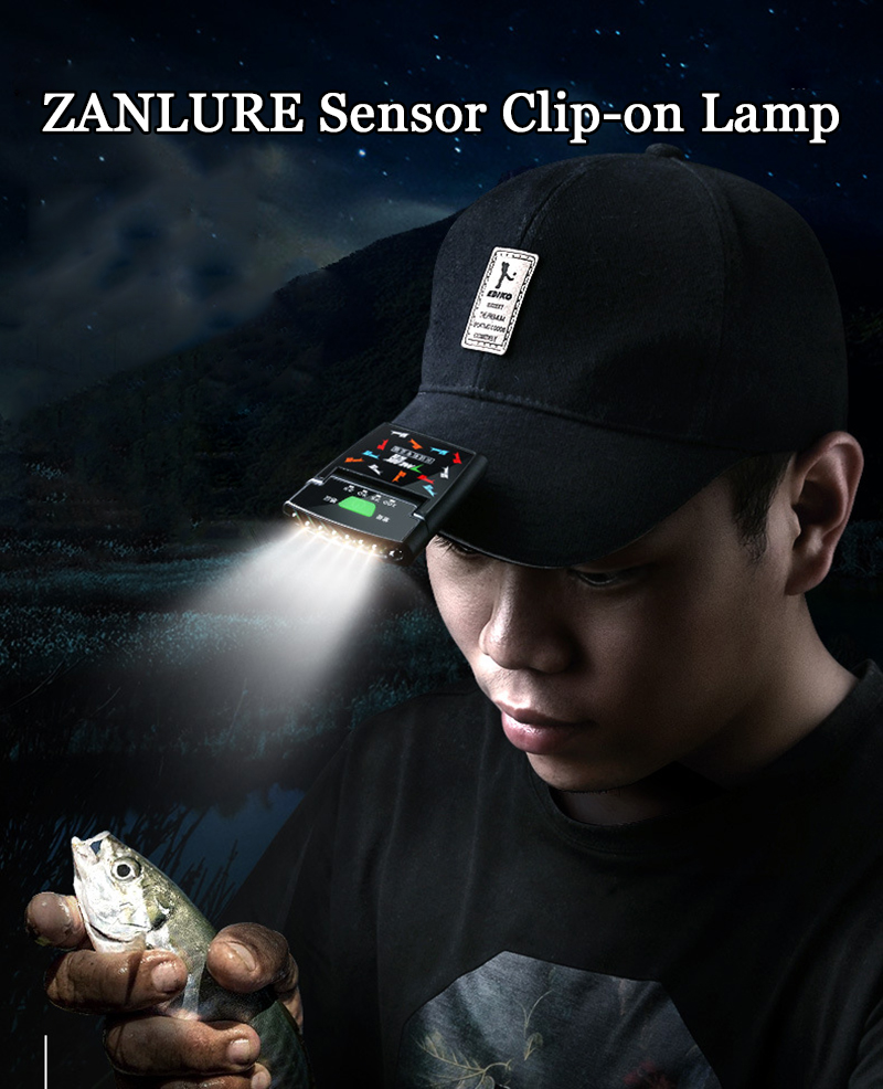 ZANLURE 480LM LED Headlamp Sensor Headlight Clip-On USB Rechargeable Headlamp Fishing Lamp