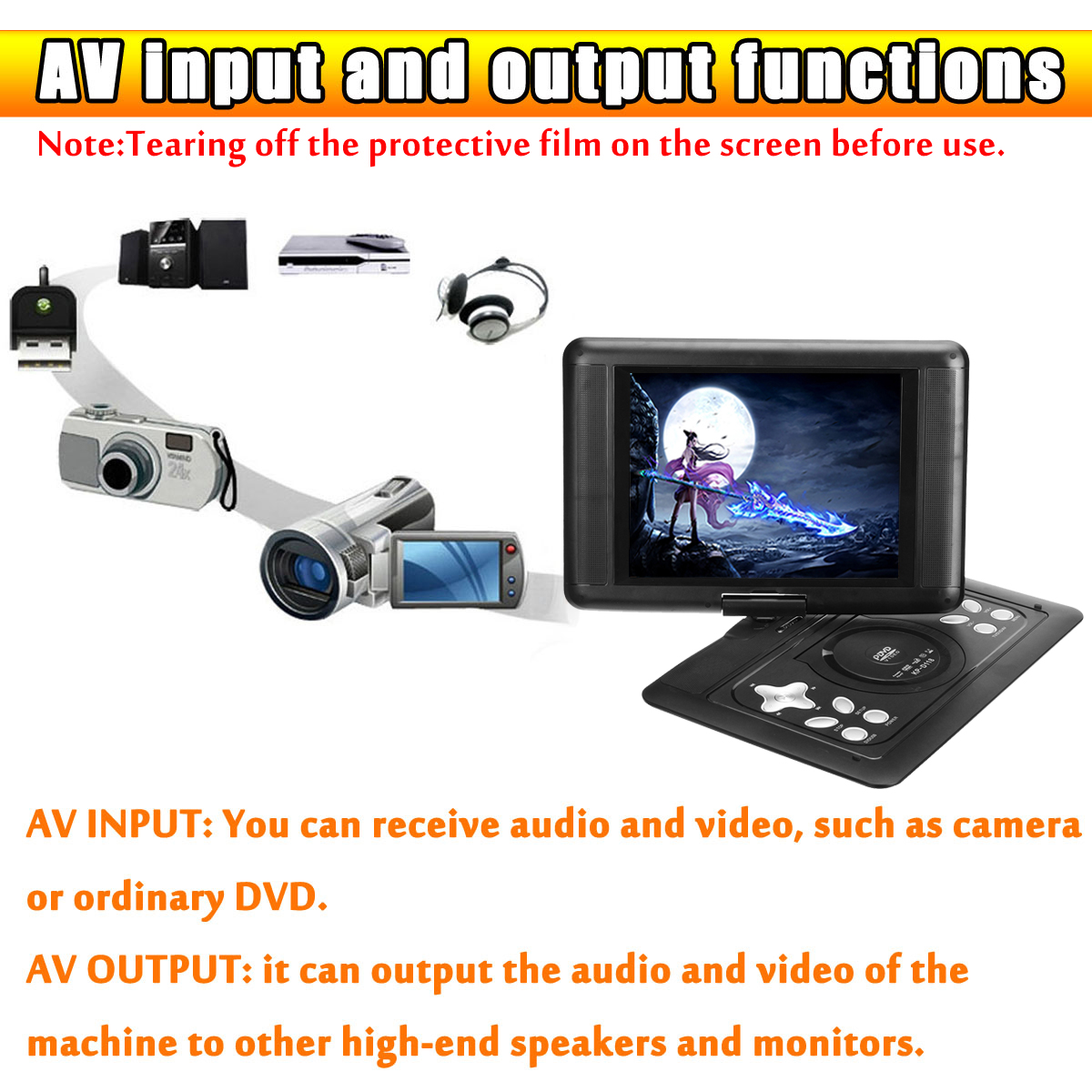 18.8 Inch Portable Remote Control Car HD Mobile DVD EVD with Small TV Games Player