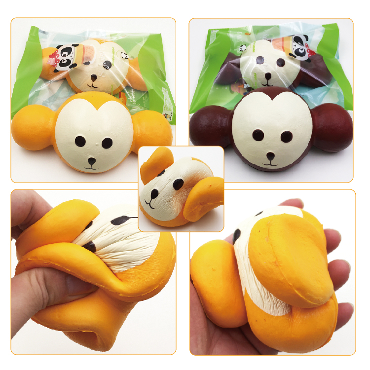 18CM Kawaii Jumbo Squishy Monkey Head Super Slow Rising Charm Scented Phone Straps Toy for Cell Phone