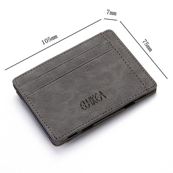 Men PU Leather Money Clip Thin Bifold Wallet Credit Card Holder