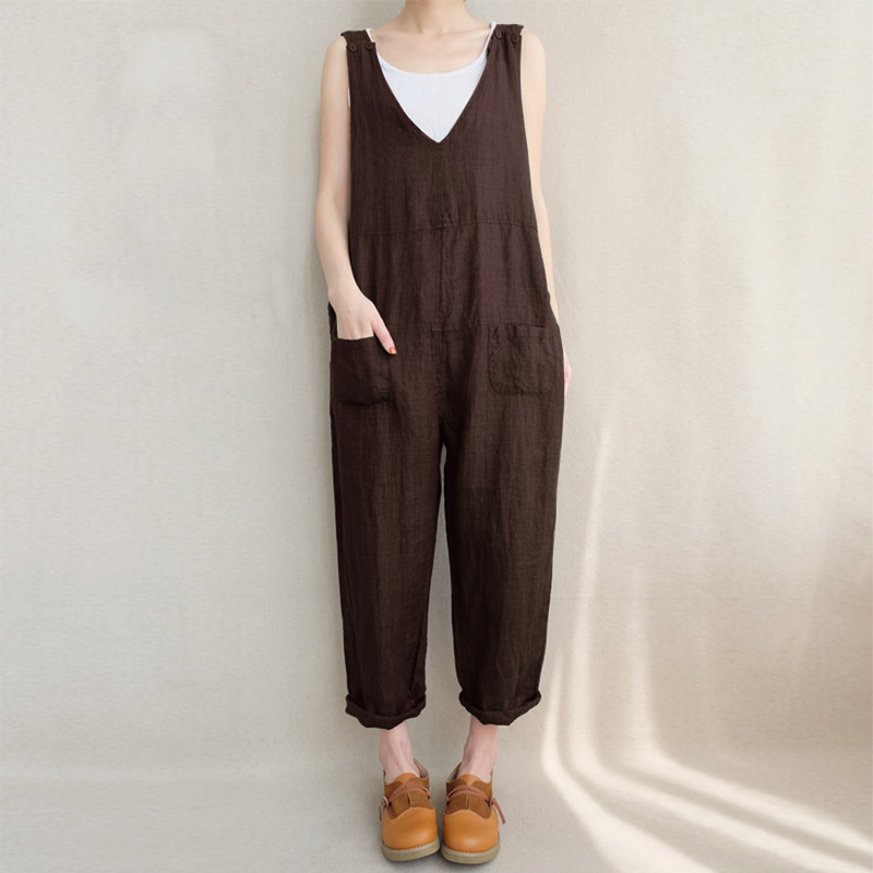 Women Casual Sleeveless V-neck Loose Stripe Jumpsuit
