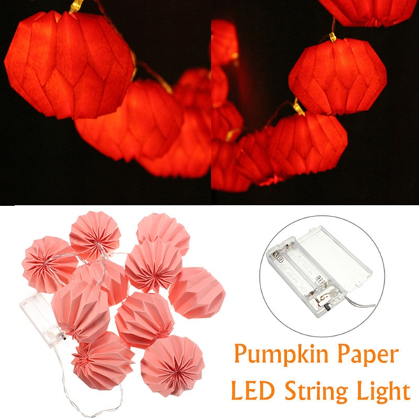 1M 10 LED Battery Powered Pumpkin Paper Lantern Party String Lights Warm White