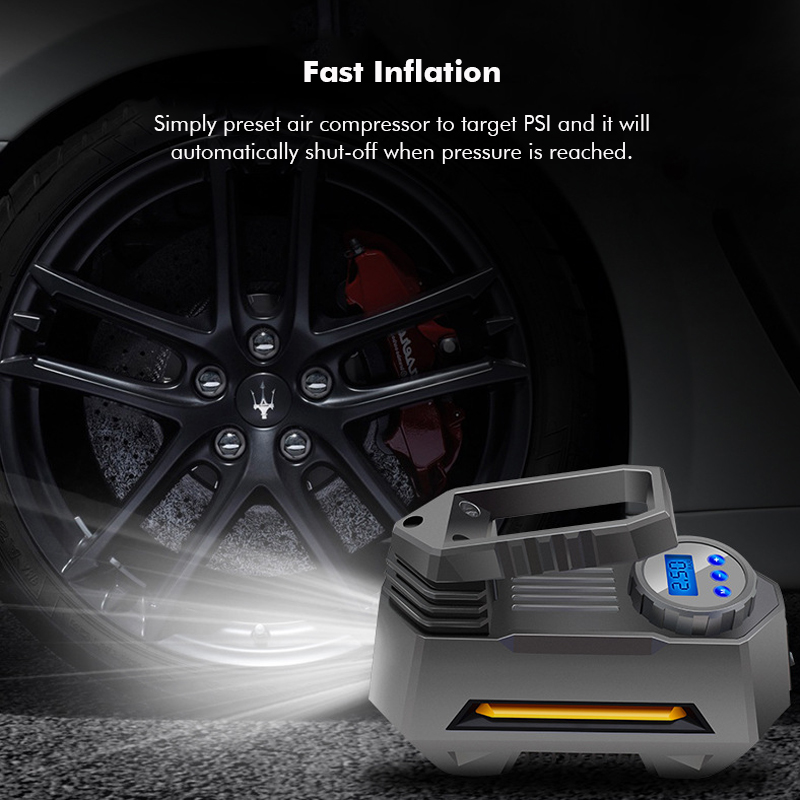 Portable Air Compressor Pump Inflator Tire Pressure Monitoring LCD Digital Dispaly 12V for Car Truck Bicycle RV