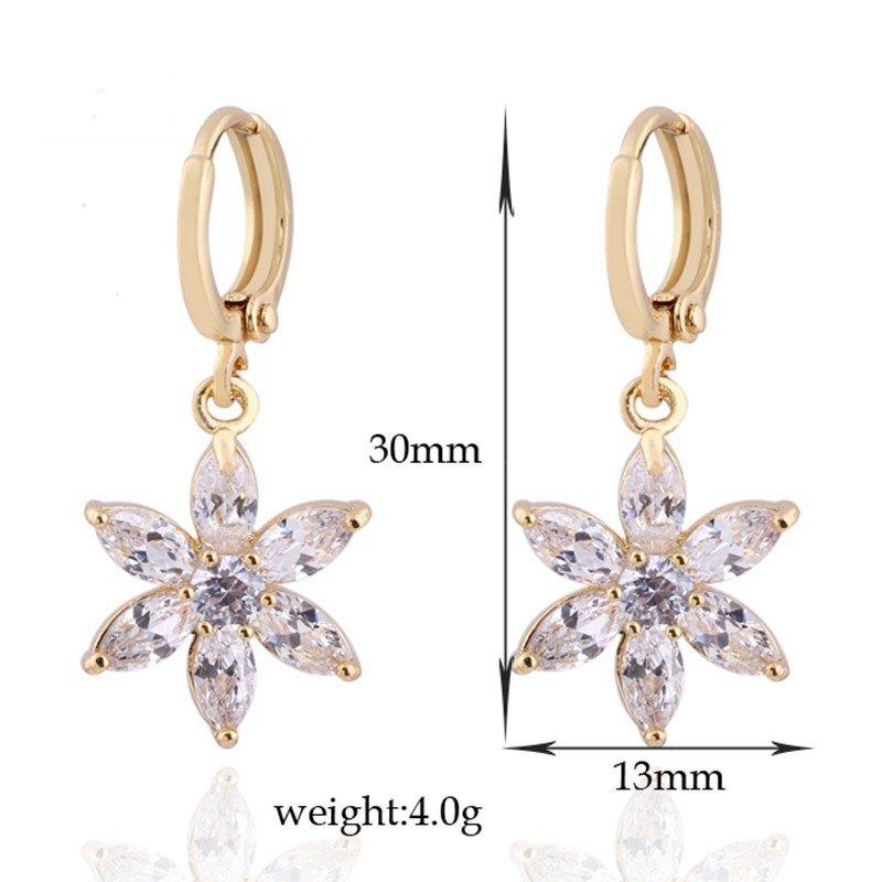 Kuniu Gold Plated Flower Zircon Dangle Hoop Ear Drop Earrings For Women