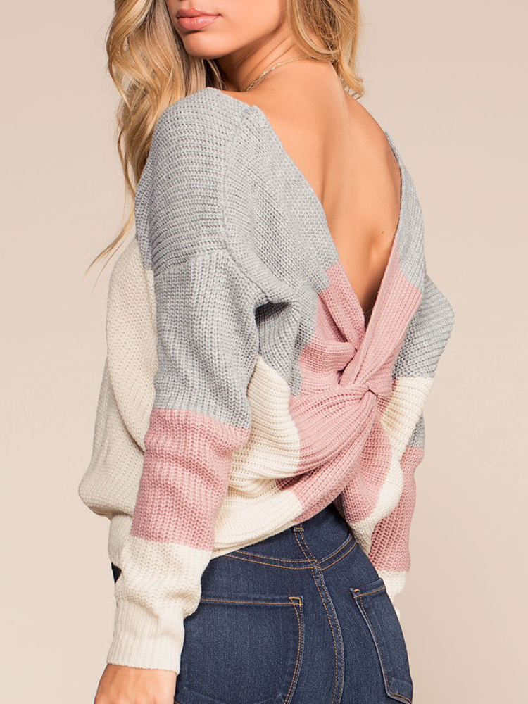 Sexy Back Cross Long Sleeve Patchwork Knitting Sweaters