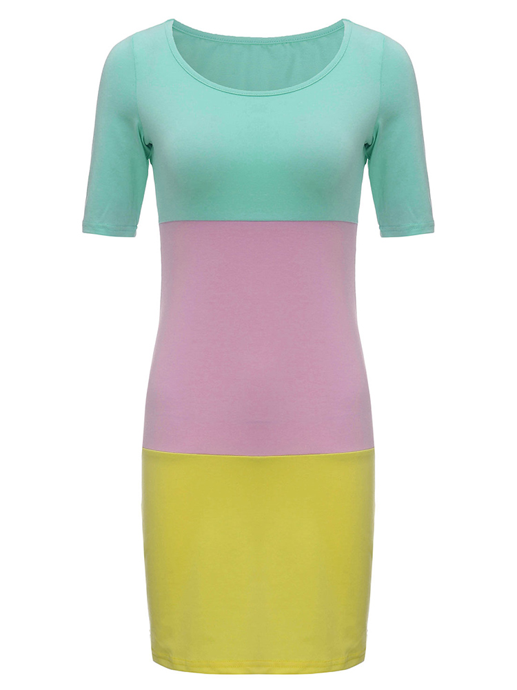 Slim Color Block Sheath Mini Beach Dress For Women