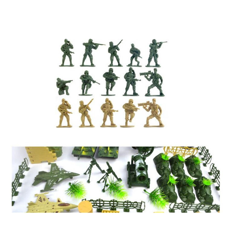 90pcs Military Playset Plastic Toy Soldier Army Men 5cm Figures Accessories