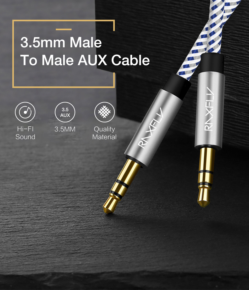 RAXFLY 3.5MM Male to Male Audio AUX Cable 1m For iPhone X 8Plus Oneplus5 Car Speaker Headphone MP3