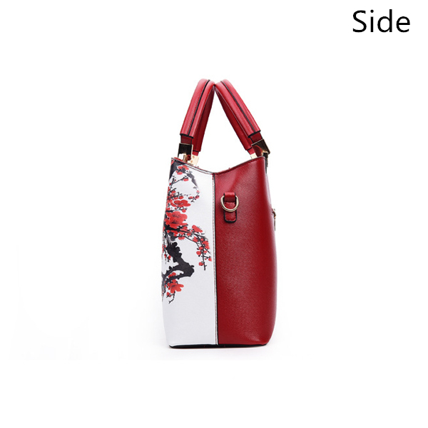 Women Floral PU Leather Capacity Tote Elegant Shoulder Bag Vintage Crossbody Bags