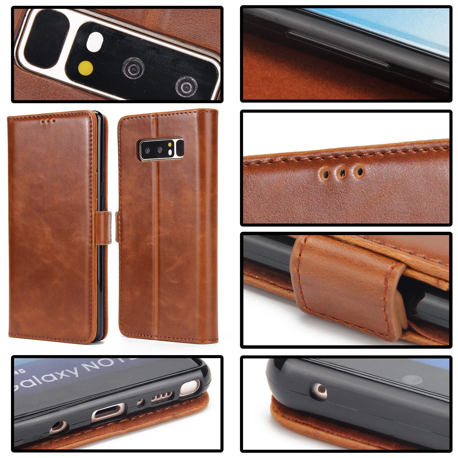 PU Leather Wallet Card Slot Flip Bracket Magnetic Case for Samsung Galaxy Note 8