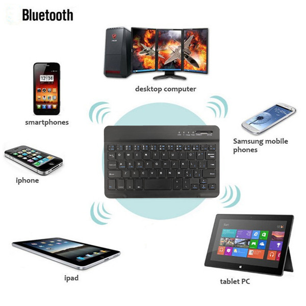 Ultra Slim Wireless bluetooth Keyboard For Windows Android IOS PC Phone Tablet