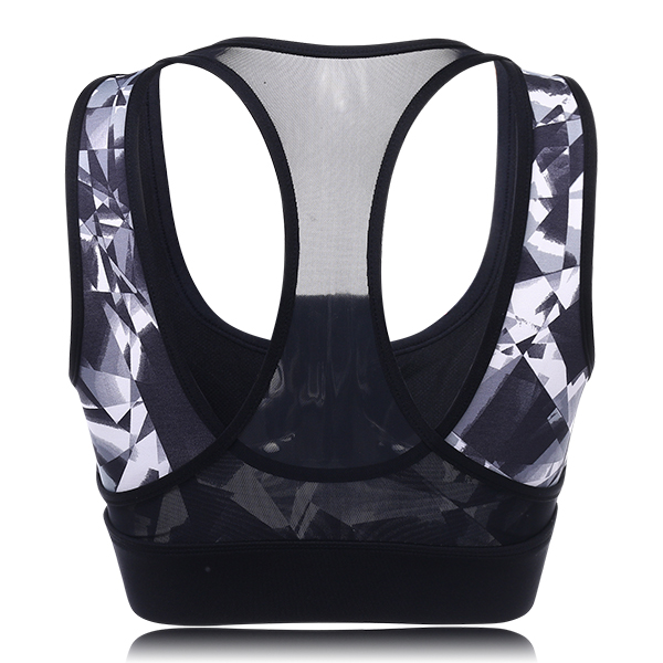 Women Shockproof Wireless Sport Bra Geometric Printed Breathable Yoga Vest Underwear