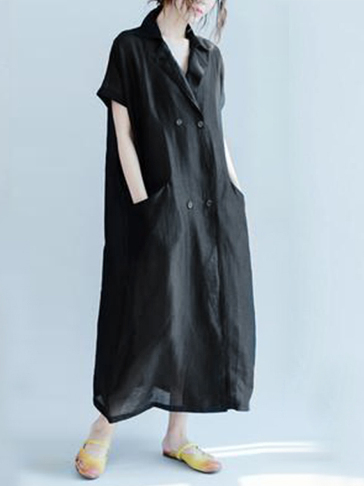 Short Sleeve Lapel Long Shirt Dress