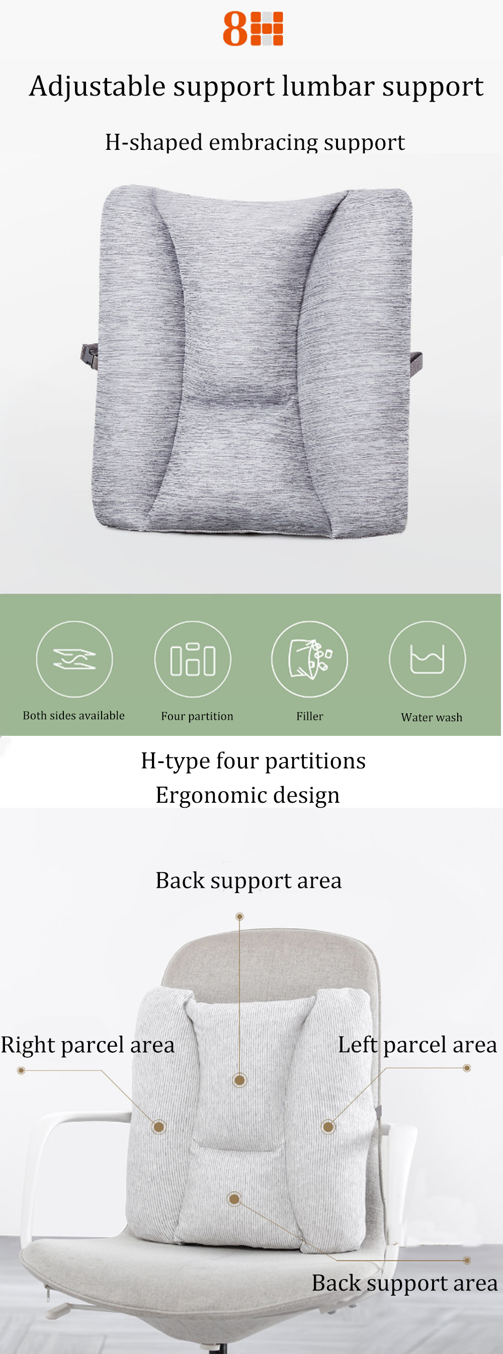 Xiaomi 8H Lumbar Cushion Soft Memory Foam Pillow Protect Lumbar For Camping Office Car Rest