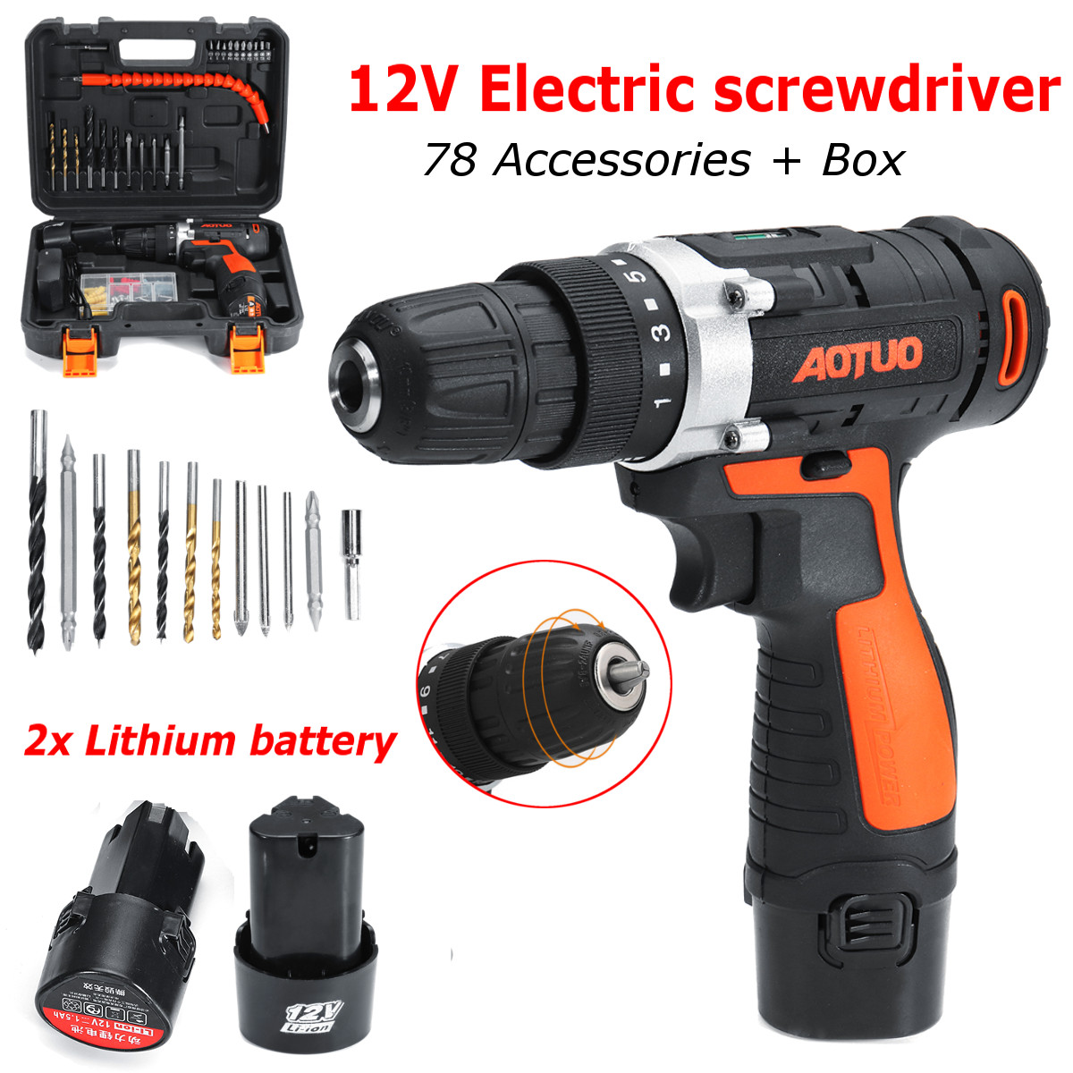 12V 78 in 1 Electric Cordless LED Screwdriver Drills Bits Rechargeable Reversible Drill Tools Kit