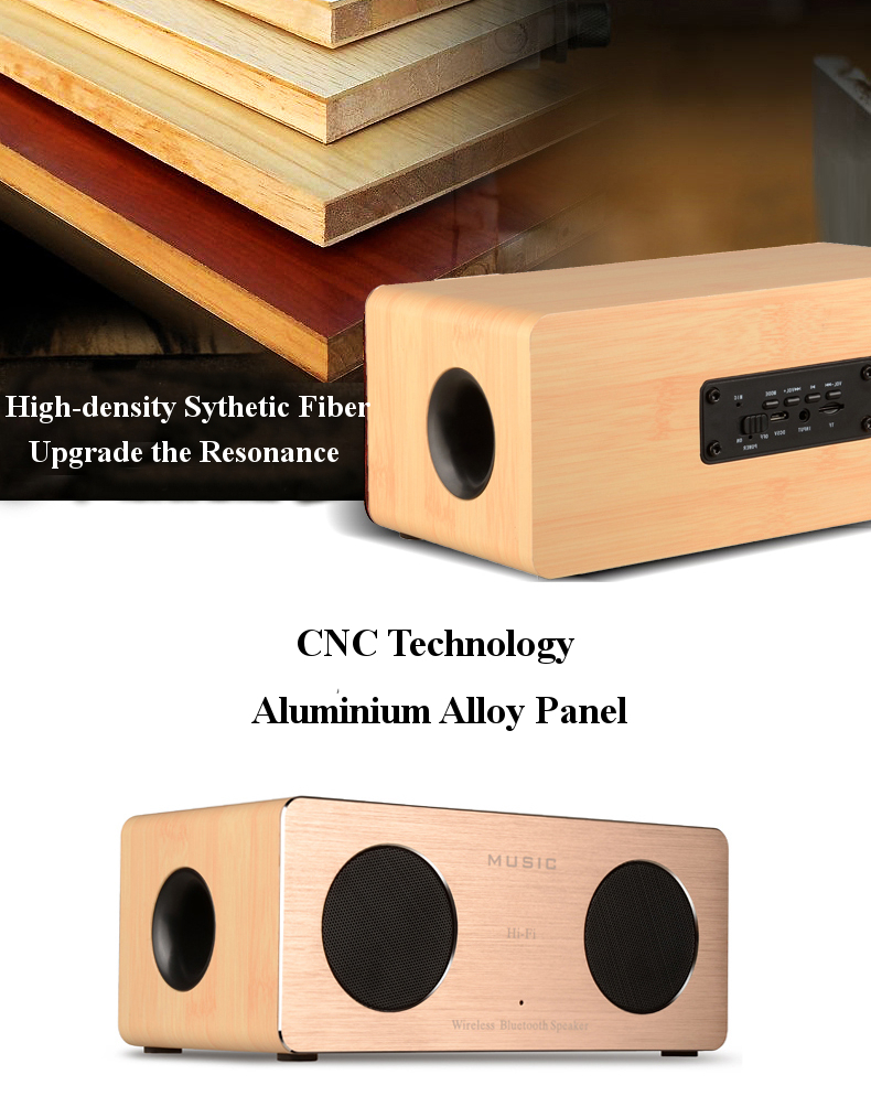 Wooden Dual MIC Handsfree AUX HIFI Wireless Bluetooth Speaker For iPhone Samsung
