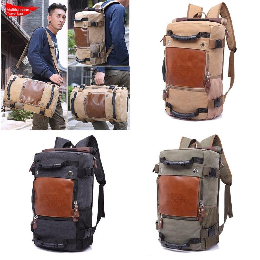 Large Capacity Khaki Function Travel Canvas Backpack Male Waterproof Computer Causal Men Backpacks Duffel Shoulder Bag