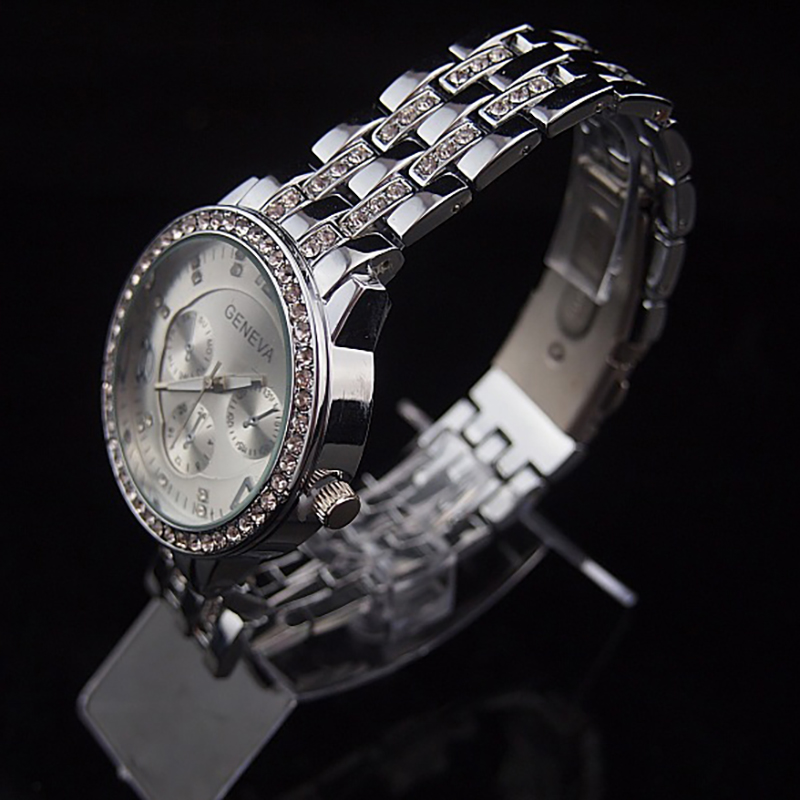 Luxury Crystal Big Number Stainless Steel Band Quartz Watch