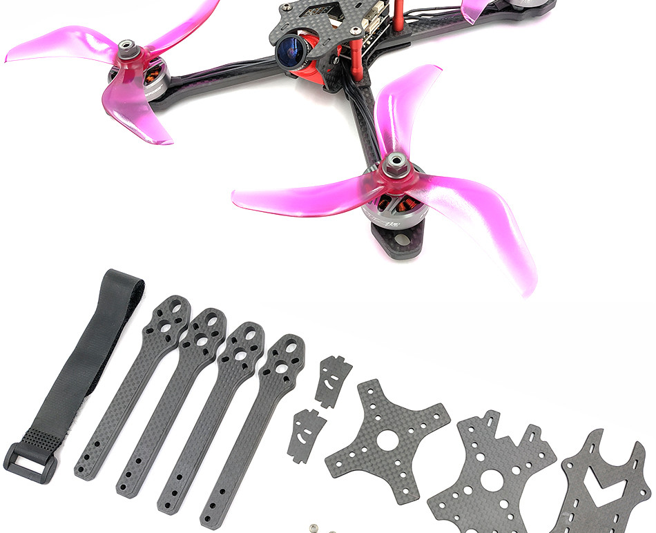 AlfaRC Raptor 218mm 6mm Arm Carbon Fiber 5 Inch Stretch X Frame Kit for FPV Freestyle RC Drone - Photo: 9