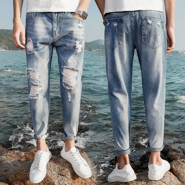 Hole Jeans Men's Slim Feet Nine Points Thin Section Casual