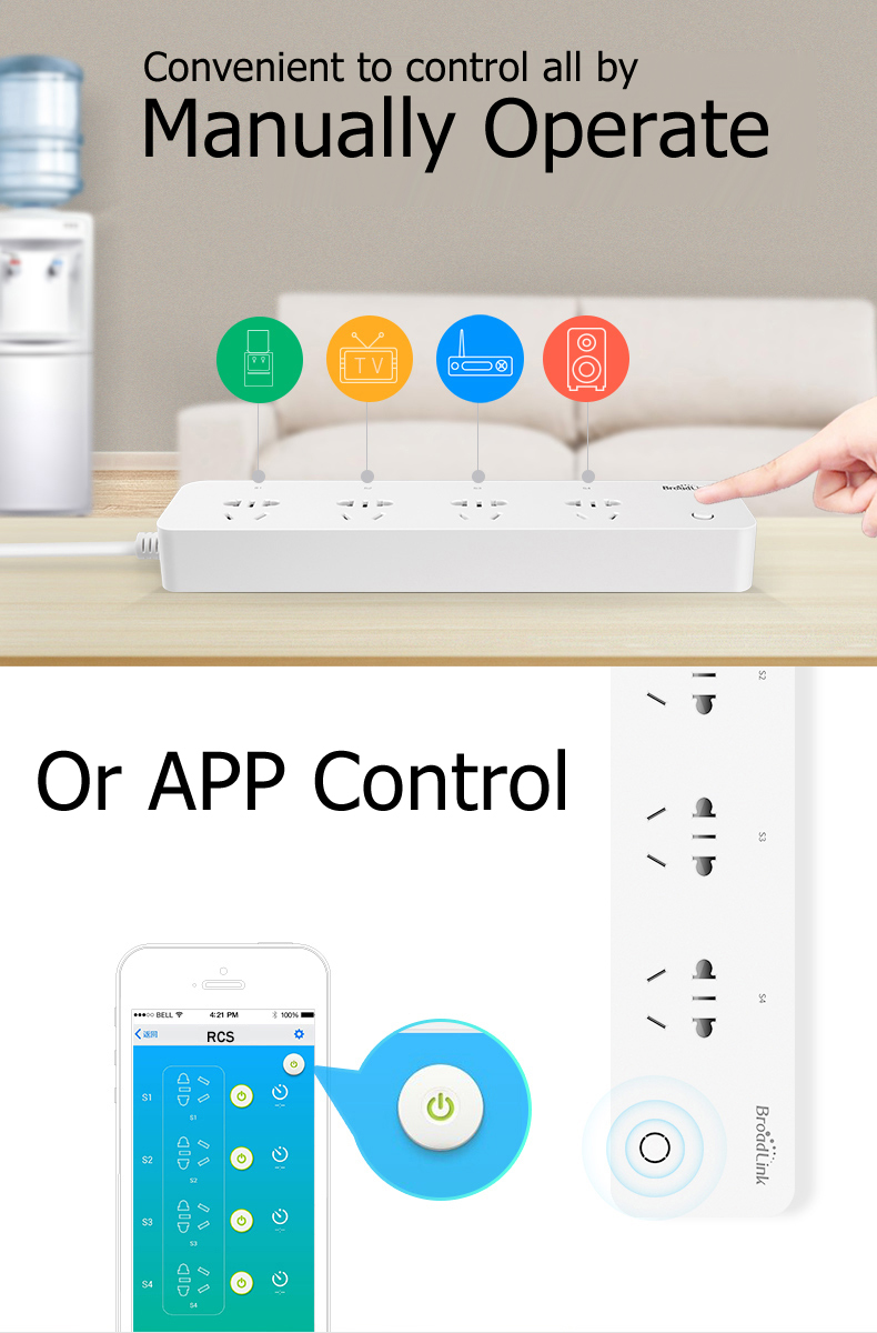 Broadlink MP1 Smart Home Wifi Timing Plug Power Strip 4 Ports Individual Wireless Remote Control