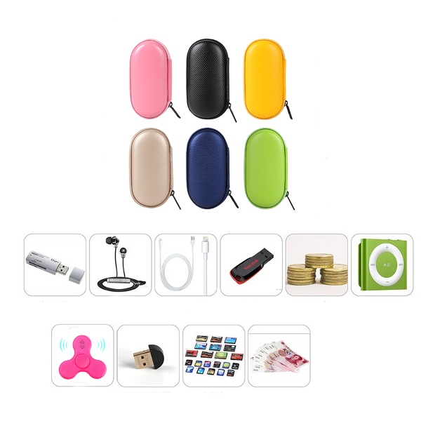 Universal PU Box Storage Package Case Oval Shape for Finger Spinner Data Cable Charger Earphone