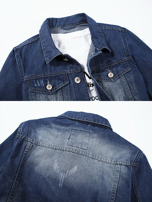 Mens Casual Fashion Cat Scratch Washed Denim Jacket Coat