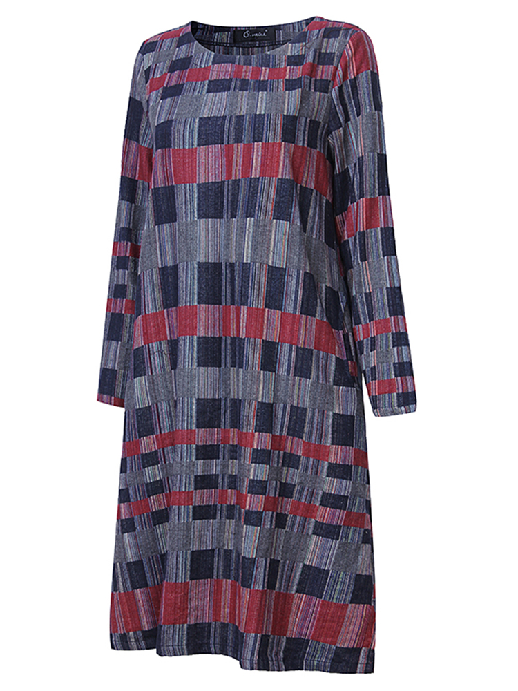 Fashion Colorful Plaid O-Neck Loose Dress