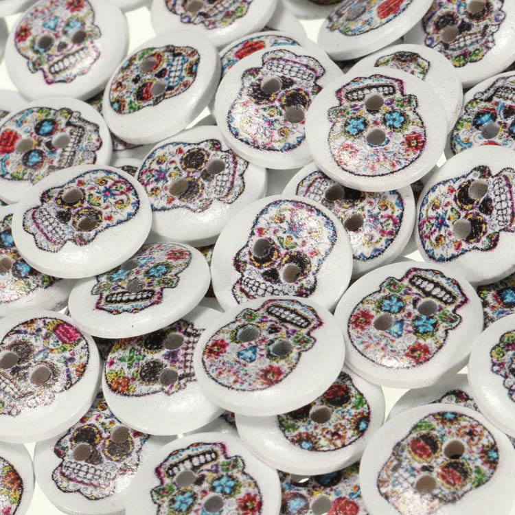 100pcs Mixed Color Wooden Skull Sewing Buttons DIY Craft Bag Hat Clothes Decoration Sewing Button