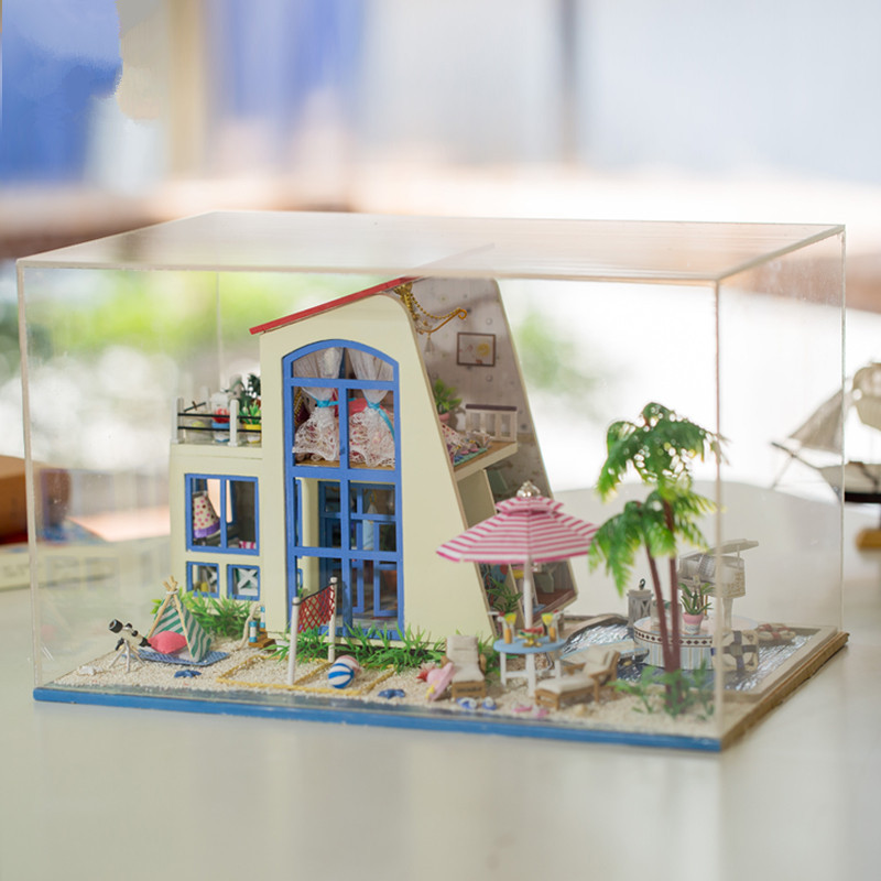 Hoomeda 13840 1/24 DIY Wooden Doll House Blue Sky With LED Furniture Dollhouse