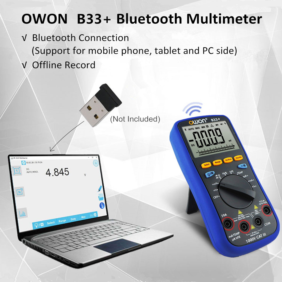 OWON B33+ Digital bluetooth Multimeter AC DC Voltage Current Resistance Capacitance Temperature Tester Offline Record for Android 4.3 IOS 7.0