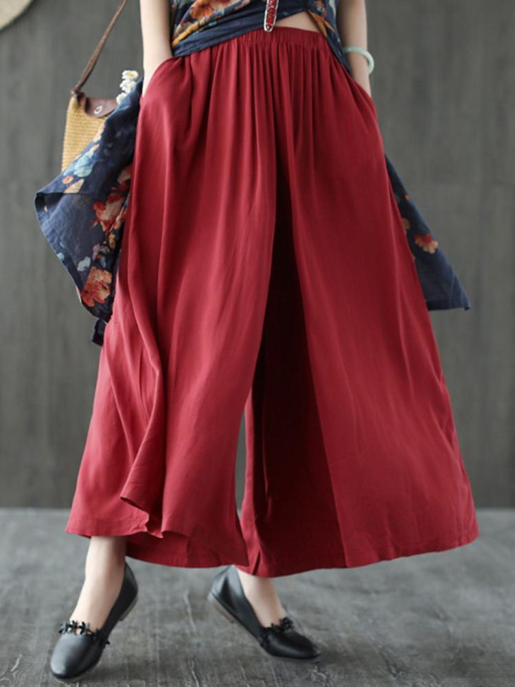 Women Solid Color Elastic Waist Casual Loose Pants