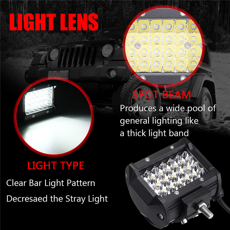 4Inch LED Work Light Bar Spot Beam Fog Lamp 10-30V 72W White 2PCS for Offroad SUV Truck
